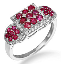 Natural Ruby Red Colored Diamond Fashion Solid 14K White Gold Fine Cockt... - $1,429.56