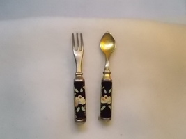 Vintage Enamel Floral Accented Spoon and Fork Pin Set - $15.00