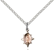Sterling Silver Miraculous Pendant 3/8 x 1/4 inch with 18 inch ChainP - $47.96