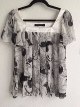 ANAYI Floral Print Black & White Inverted Pleat Blouse Flutter Chiffon Top XS S - $16.99
