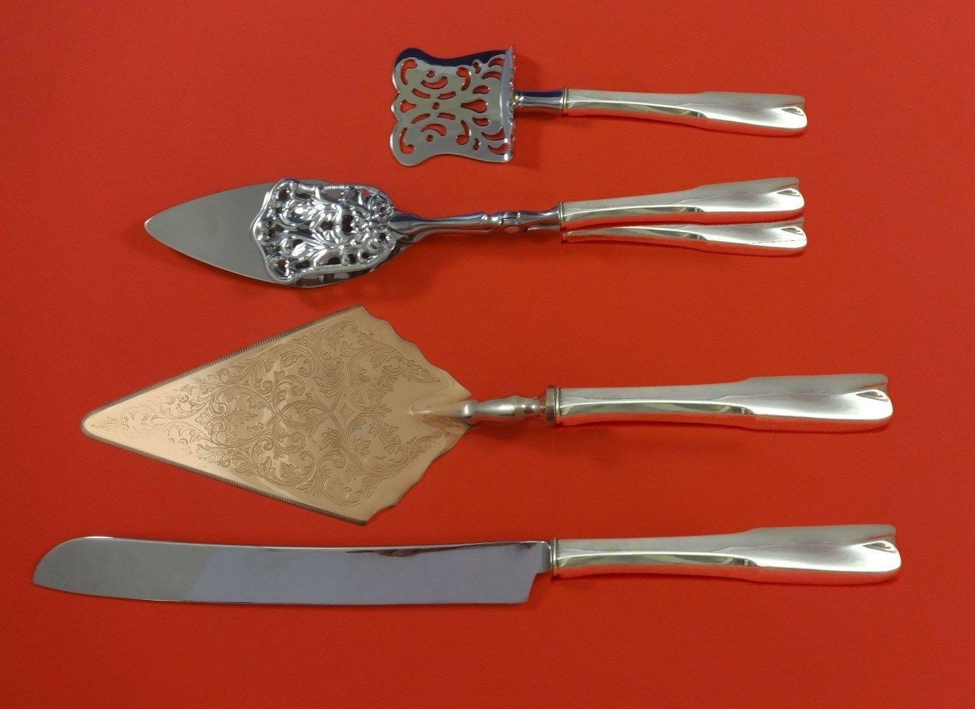 Primary image for Colonial Theme by Lunt Sterling Silver Dessert Serving Set 4pc Custom Made