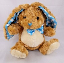 "The Petting Zoo Bunny Rabbit Plush Blue Polka Dot Ears Sits 8"" Stuffed A... - $5.95"