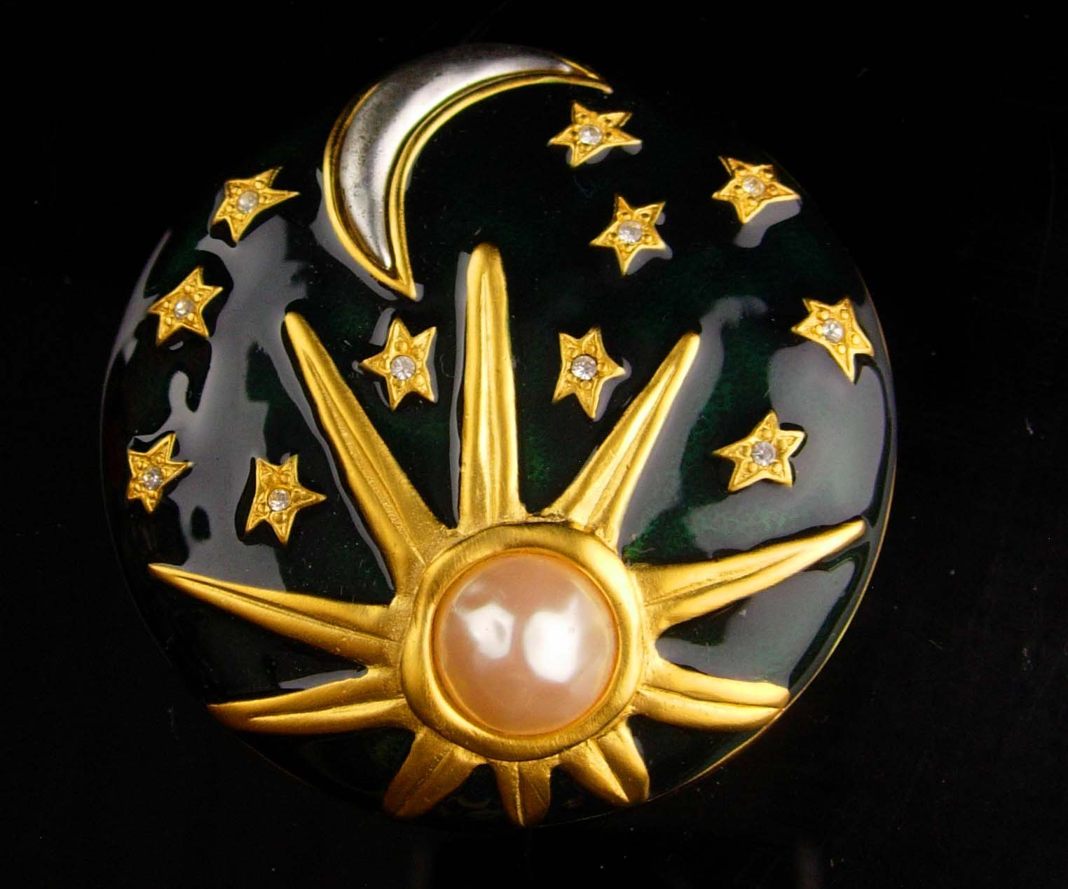 Karl Lagerfeld brooch - Sun Moon Stars Enamel Pin - Vintage couture jewelry - go image 3
