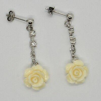 Boucles D'Oreilles en Argent 925 Rhodié Pendentifs Zirconia Cz et Rose Beige De