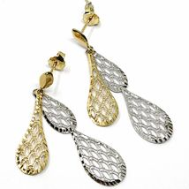 18K YELLOW WHITE GOLD PENDANT EARRINGS, DOUBLE WORKED OVERLAPPED DROPS, 4.5cm  image 4