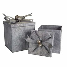 """Diva At Home Assortment of 2 Gray Metal Gift Boxes with Bells 15.5"""" - $96.86"""