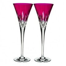 Waterford Lismore Pops Hot Pink Toasting Flute Pair #40019535 Brand New - $202.95