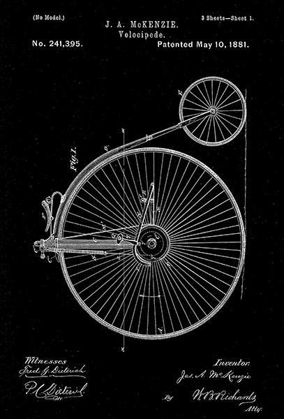 Primary image for 1881 - Velocipede - J. A. McKenzie - Patent Art Poster