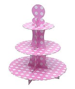 3-Tier Treat Tree Cupcake Stand Paper Cake Carrier, Pink 2 Pcs - $36.34