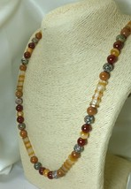 Striated Tube Agate Carnelian Jasper Gemstone Long Necklace 29 inch - $32.00