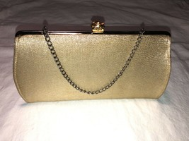 Vintage Puse Evening Bag Clutch - Gold w/ Carry Chain  - $7.99