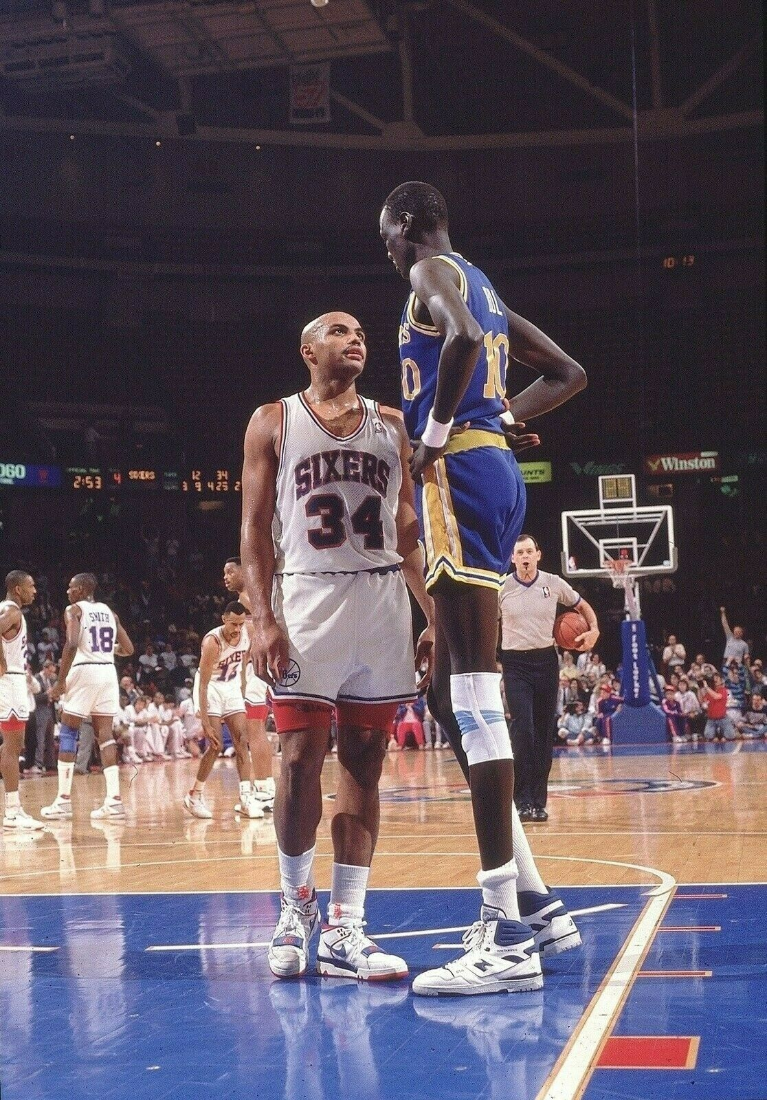 Primary image for Manute Bol Charles Barkley SSPF Vintage 8X10 Color Basketball Memorabilia Photo