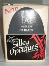 Leggs Sheer Elegance Silky Opaques Sheer Toe Jet Black Pantyhose Size A VTG NEW - $24.95