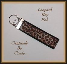 Leopard Key Ring, Leopard Key Fob, Black And Brown Key Ring - $5.50