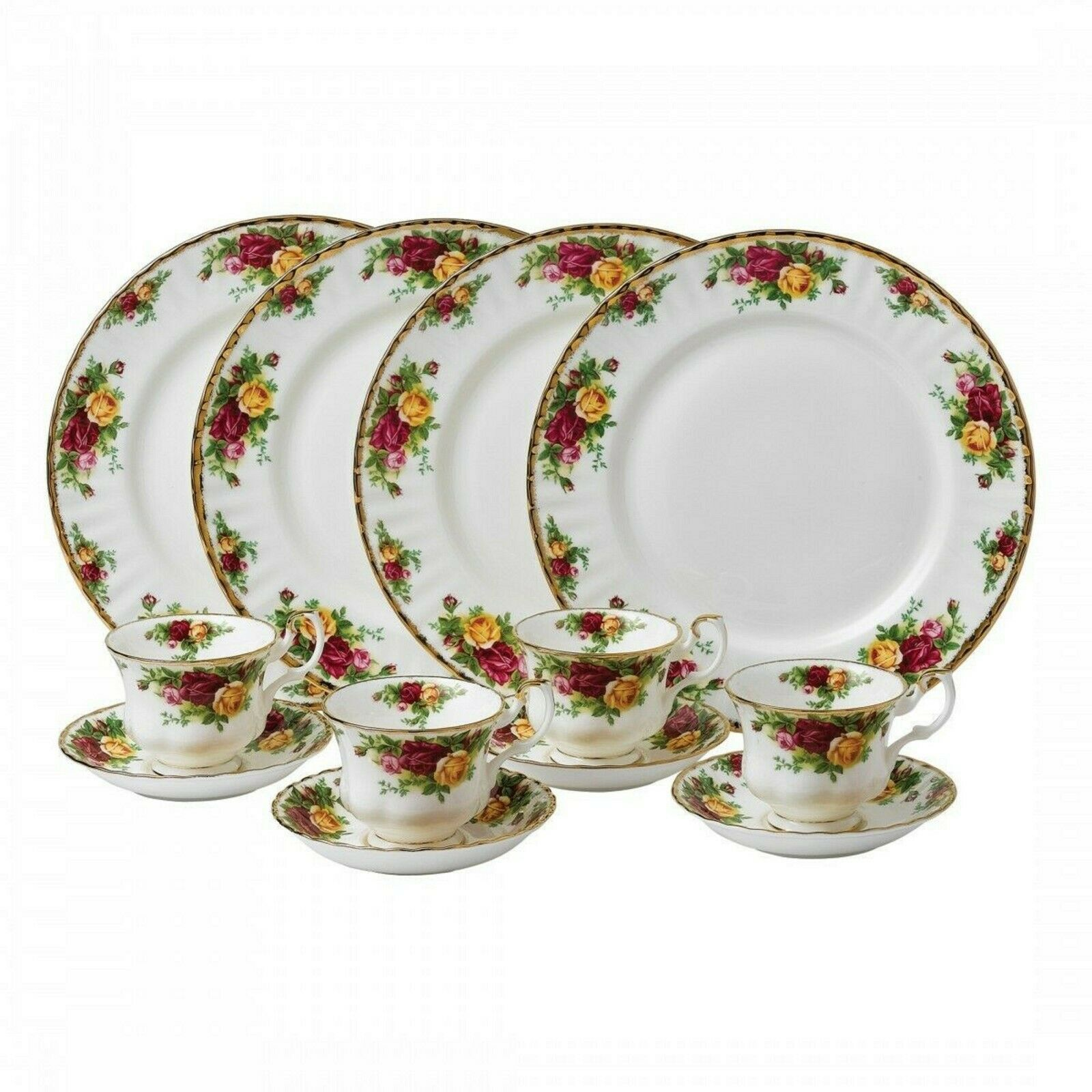 Royal Albert Old Country Roses 12 PC Dinnerware Set Service For 4 Plates NEW - $225.72