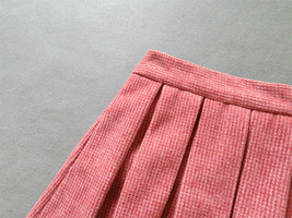 Lady Pink Winter Wool Skirt Pink High Waist Midi Pleated Skirt Winter Party Plus image 11