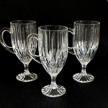 3 (Three) Mikasa Park Lane Cut Lead Crystal Irish Coffee Mugs Discontinued - $99.99