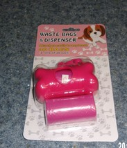Brand New Dog Waste Bags with Pink Bone Shaped Bag Holder For Dog Rescue... - $7.99
