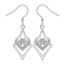 925 sterling silver CZ triangle drop dangle earrings- geometric jewelry - $10.77
