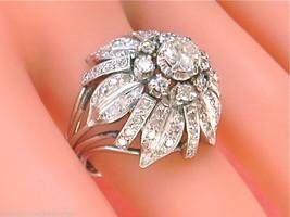 VINTAGE 2ctw DIAMOND BIG FLOWER BLOSSOM PLATINUM COCKTAIL STATEMENT RING... - $4,915.35