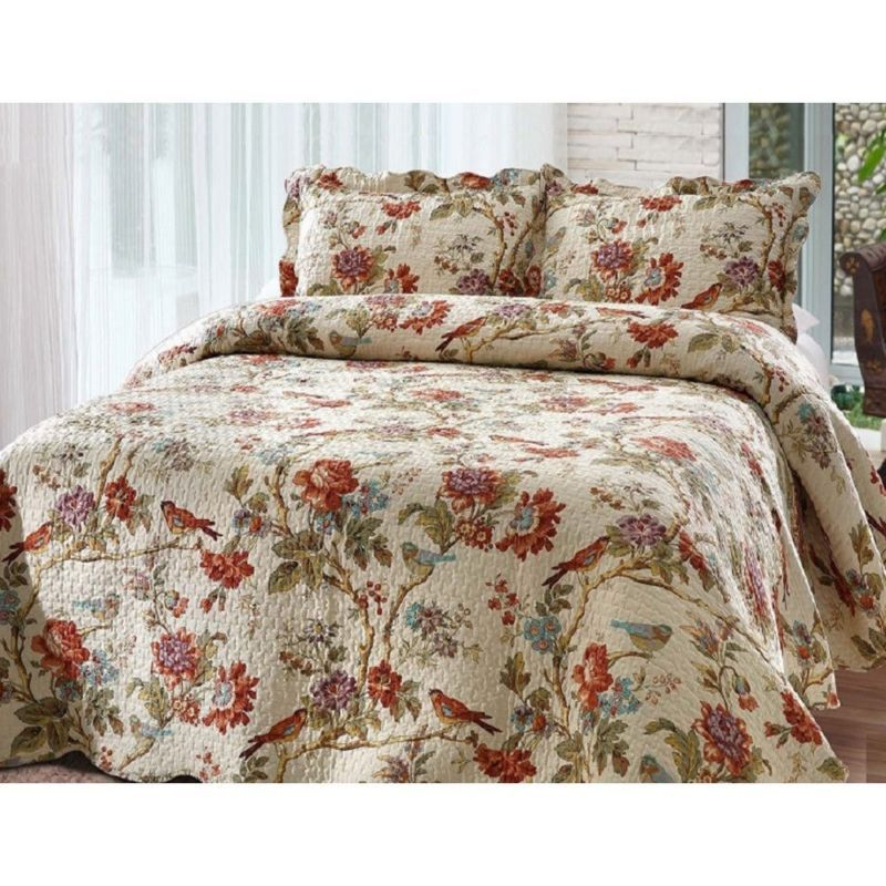 Quilt Set Queen Size Bedding Reversible Floral Scalloped