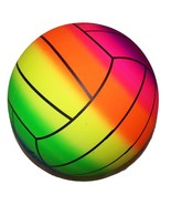 RAINBOW SPORTS VOLLEYBALL BALL kick bounce squeeze novelty play toy boun... - $4.75