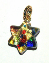 Murano Glass Star of David Judaica Pendant Multicolor Gold Sparkle Venic... - $15.90