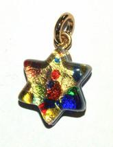 Murano Glass Star of David Judaica Pendant Multicolor Gold Sparkle Venic... - $15.90