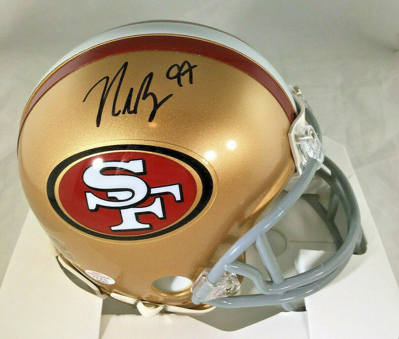 NICK BOSA / SAN FRANCISCO 49ERS / AUTOGRAPHED 49ERS LOGO MINI HELMET / COA