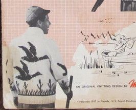Vintage Mary Maxim Knitting Patterns ADULTS MENS Cardigan Sweater WILD DUCK  - $4.95