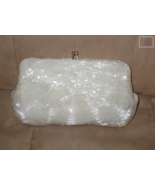 1950's Vintage off-white Bugle Beaded Purse - $68.31