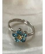 Estate Dainty Cookie Lee Light Blue & Yellow Rhinestone Daisy Flower Adj... - $9.49