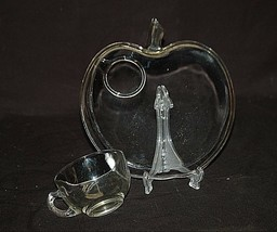 Old Vintage Orchard Apple Clear Glass Snack Plate & Cup Set by Hazel Atlas - $14.84