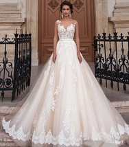Bride Shoulders Waist Slimming Lace Trailing Large Size Wedding Dress - $487.96
