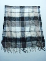 Nordstrom Black Grey Plaids & Checks Fringe Scarf One Size Women's 72x30... - $17.66 CAD