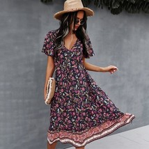 Women's Casual Chain Print Lapel Neck Beach Sundress