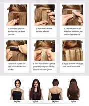 Hetto Tape in Human Hair Extensions 22 inches Seamless Glue in Hair Extensions 2 image 7