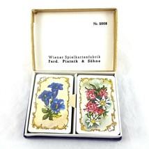 Vintage Ferd Piatnik Sohne Floral Mini Playing Cards 2 Decks Made in Austria - $14.84