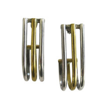 PAR Mexican Sterling Silver & Brass Mixed Metals Earrings - $46.00