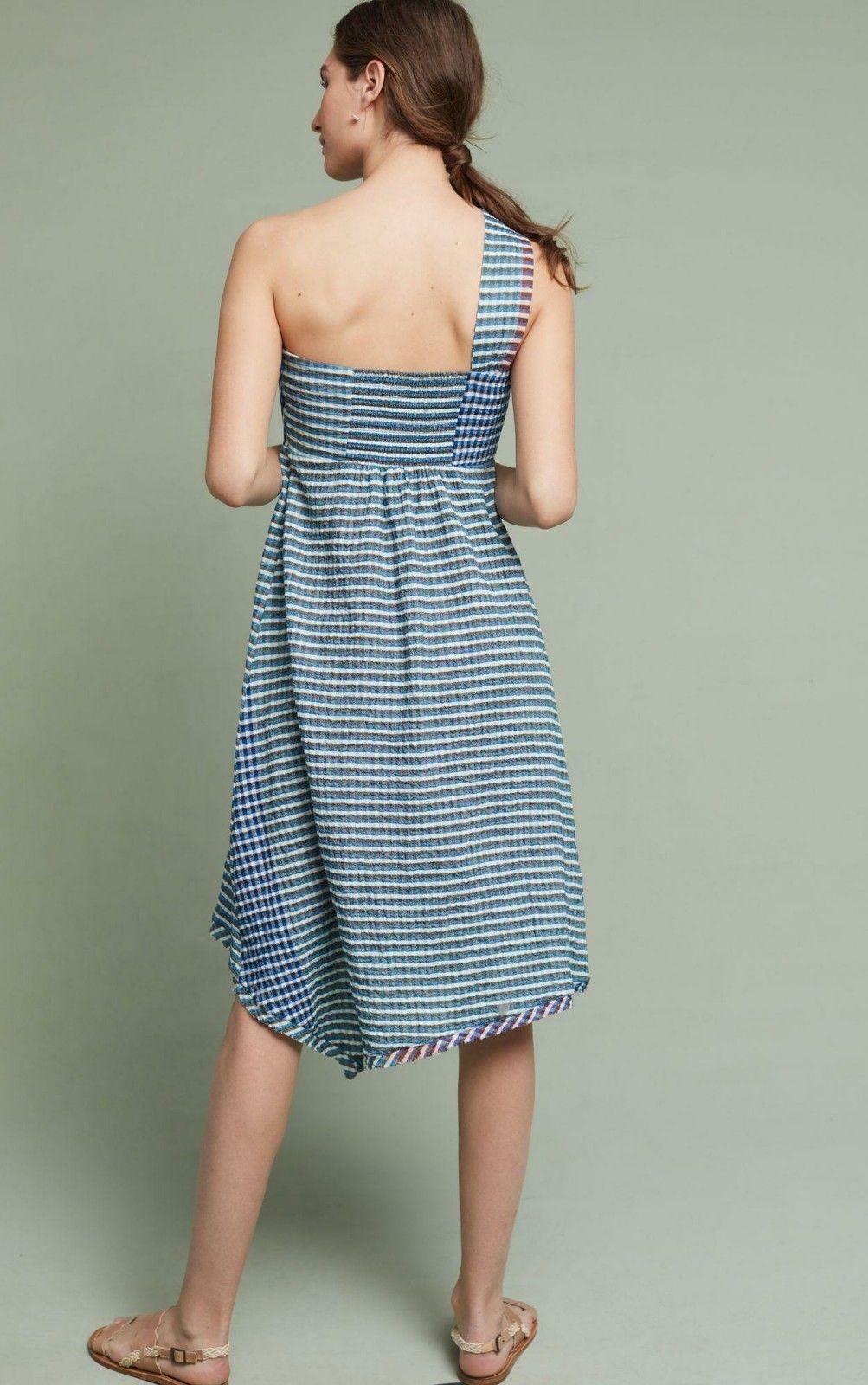 NWT $138 Anthropologie Waverly Dress by Maeve One-Shoulder Midi  Hanky Hem Sz 14