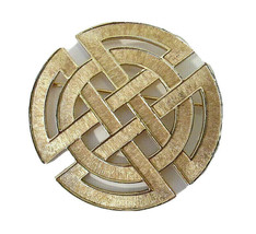 Large MARKED Trifari Celtic Shield Knot Gold Tone Brooch Vintage Textured - $40.50