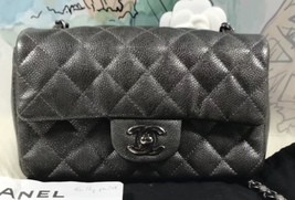 NEW AUTHENTIC CHANEL SMOKEY GREY CAVIAR LARGE MINI RECTANGULAR FLAP BAG RHW