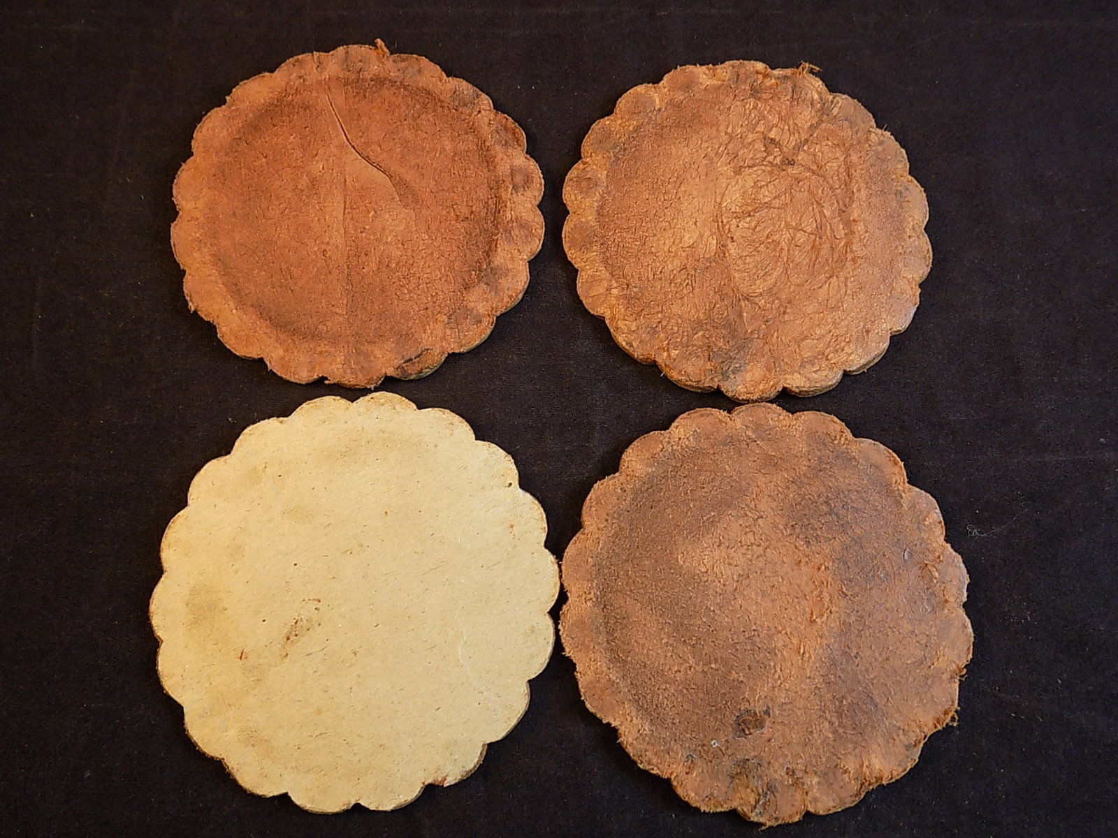 ORNATE HANDMADE LEATHER BEVERAGE COASTER SET 4 PERUVIAN Decorative Leather Disks