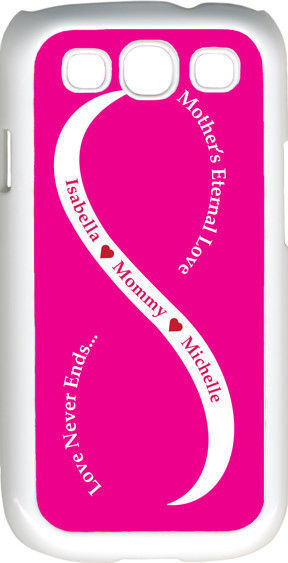 Fuchsia Pink & White Mother's Love with Red Names Samsung Galaxy S3 Case Cover