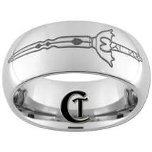 8mm Dome Tungsten Carbide Fantasy Sword Design Ring Sizes 4-17  - $49.00