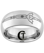 8mm Dome Tungsten Carbide Fantasy Sword Design Ring Sizes 4-17  - $49.00