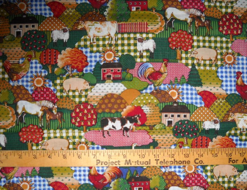 "100% Cotton Fabric BTY 45"" Calico Barnyard Chickens Cow"