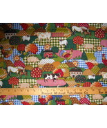 "100% Cotton Fabric BTY 45"" Calico Barnyard Chickens Cow - $8.99"