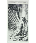 NUDE EX LIBRIS Male Injured Ikaros Dying Melted Wings - 1922 Lichtdruck ... - $14.85