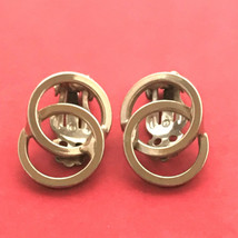 Clip on Vintage Earrings Double Round Circles Retro Style Silver Tone Metal - $15.99